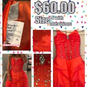 neon orange pageant dress worn twice
